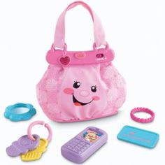 Keys, lipstick, money, music. This adorable purse has everything baby needs for learning and role play fun! Sing-along songs, lots of accessories and busy activities introduce numbers, colors, opposites and more.  #myrrhshop #onlineshoppingnetworkl #babytoysforgirls http://babytoys.myrrhshop.com/product/fisher-price-laugh-and-learn-my-pretty-learning-purse/
