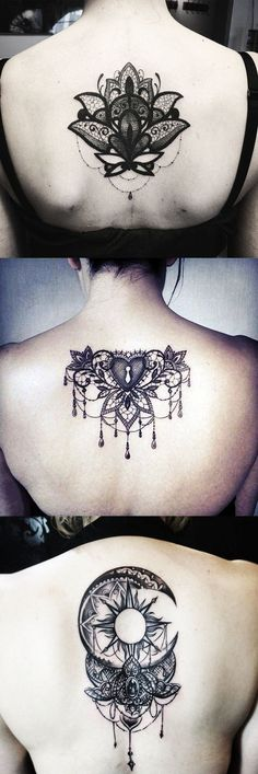 Lace Tattoos Ideas for Women - Spine Back Lotus Tat - Sun Moon Chandelier Black Henna at MyBodiArt.com