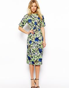Image 1 of ASOS Midi Wiggle Dress In Floral Print
