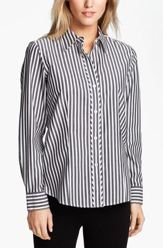 Foxcroft Stripe Shirt in Black