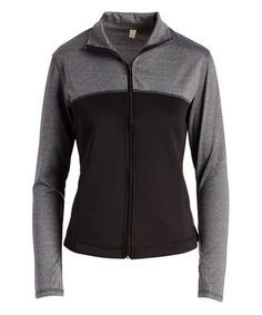 Another great find on #zulily! Heather Gray & Black Color Block Track Jacket #zulilyfinds