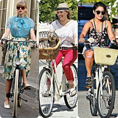 GAME TIMEWHO IS THE MOST STYLISH RIDER #taylorswift #hilaryduff#vanessahudgens#bike #ride #selenagomez #justinbieber #harrystyles #baby #style #fashion #instastyle #instafashion #beautiful #ootd #hot #spring #blonde #sheer #lace #mint #summer #perfection #celebrity #floral #streetfashion #classy #love #weheartit... - Celebrity Fashion
