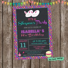 Sleepover Birthday  Invitation Pajamas Party Birthday  Girls