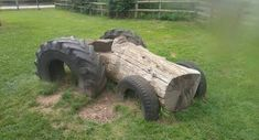 4what a good idea 4 used tractor tires and a log create a garden tractor