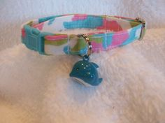 Cat Collar with whale  bell Breakaway Collar Custom Made