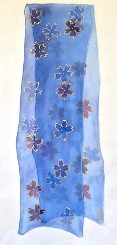Silk Scarf Hand Painted Japanese Scarf Blue by SilkScarvesTakuyo