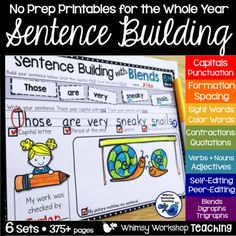 My students love to build silly sentences, but they seem to be much more successful when they have an opportunity to manipulate the words before they write. This format allowes for just that, and through the year we practice sight words, color words, parts of speech, blends, digraphs, compound words, quotations marks and contractions. Click to download a free set of sample pages to see if it works for your students!
