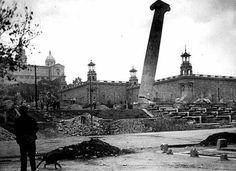 Enderroc cuatre columnes Montjuic. Barcelona 1928