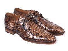7b15048c76af Paul Parkman Brown Genuine Python Derby Shoes (ID 0787BRW)