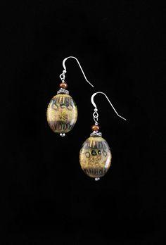 Estimated Prophet Earring | Spitfire Designs-Russian hand painted glass and Sterling Silver. $55  #EstimatedProphet #Egypt #Earrings #HandmadeJewelry
