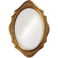 "Howard Elliott Trafalga 19"" x 27"" Gold Leaf Wall Mirror (£67) ❤ liked on Polyvore featuring home, home decor, mirrors, howard elliott mirror, home wall decor, wall mounted mirror, interior wall decor and oval mirror"