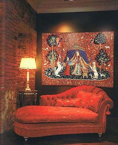 Domythic Bliss: Signatures of Domythic Living: Day Tapestries Unicorn Tapestries, Tapestry, Cozy Couch, Settee Sofa, Fantasy House, Take A Seat, Retro Chic, Home Decor Inspiration, Furniture