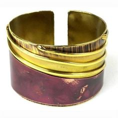 Lines Drawn Brass and Copper Cuff - Brass Images (C)