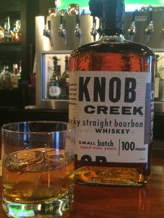 Knob Creek - 9 year - 100 Proof  Oaky nose, smells yummy. Equal taste with a slow swell of a burn but not enough to discard the tannins and woody flavor. This is as close to scotch as bourbon gets. Strong, warm, delicious.