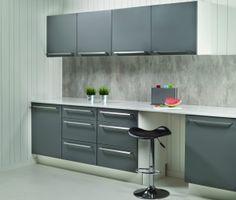 2204 S Cracked Cement Fibo trespo. Berry Alloc, Kitchen Board, Kitchen Ideas, Bauhaus, Cement, Kitchens, Kitchen Cabinets, Boards, Interior