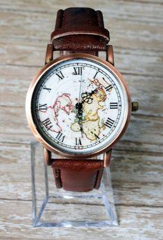 9b5a1deefb0 Leather Wrist Watch World Map Watch Woman Leather Watch