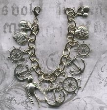 Vintage Rockabilly Style Nautical Anchor Cherry Tattoo Swallow Charm Bracelet