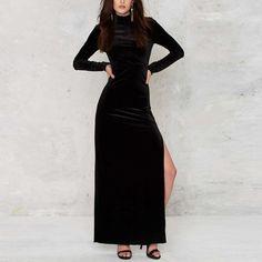 Autumn Winter Fashion Side Slit Pencil Dress Women Turtleneck Long Sleeve  Sexy Open Back Velvet Dress 4a4260420dc1