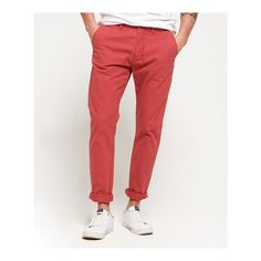 Superdry Rookie Chino Trousers (3.075 RUB) ❤ liked on Polyvore featuring men's fashion, men's clothing, men's pants, men's casual pants, red, men's 5 pocket pants, mens pants, mens red pants, mens zipper pants and mens chino pants