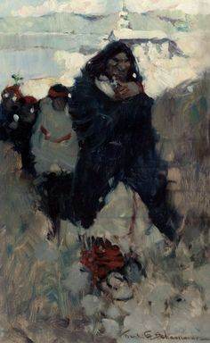 FRANK EARLE SCHOONOVER (American, 1877-1972) Sketch for The Funeral Procession, McClure's Magazine story illustration, 1905 Oil on panel 12 x 7.5 in. Signed lower righ