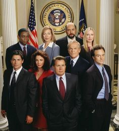 The West Wing. Cast, from top, left to right: Charlie (Dule Hill), C.J. (Allison Janney), Toby (Richard Schiff), Donna (Janel Maloney); Second Row: Sam (Rob Lowe), Abby (Stockard Channing), Pres. Bartlett (Martin Sheen), Leo (John Spencer), Josh (Bradley Whitfield).