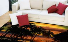 Bring the tropics home with this sunset silhouette rug. The warm yellow/orange tones with a touch of green make this a great addition to any room in