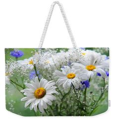 """Daisies And Cornflowers Bouquet Weekender Tote Bag (24"""" x 16"""") by Jenny Rainbow.  The tote bag is machine washable and includes cotton rope handle for easy carrying on your shoulder.  All totes are available for worldwide shipping and include a money-back guarantee."""