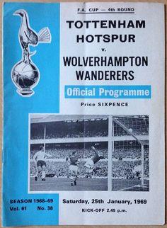 Vintage Football (soccer) Programme - Tottenham Hotspur v Wolverhampton Wanderers, FA Cup, 1968/69 season #football #soccer #spurs