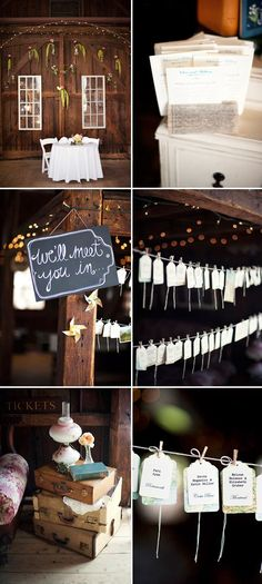 Love the details at this barn wedding with vintage travel theme - Justin and Mary Photography   http://JunebugWeddings.com