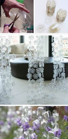Hanging room divider/curtains from plastic bottles