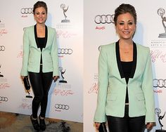 Kaley Cuoco wearing A.L.C. Mint Green Zoe Blazer to 21st Annual Hall of Fame Gala