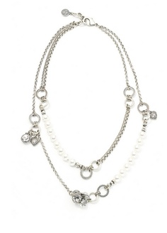 Modern double-strand pearl and chain necklace with silver charms