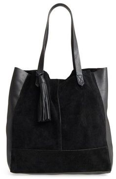 Leith Mixed Leather Tote - Black