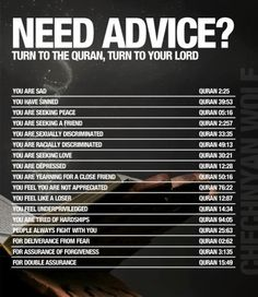 "strivingmuslim: ""Need advice? Turn to the Quran, turn to your Lord. A list of Quran passages for you to share. """