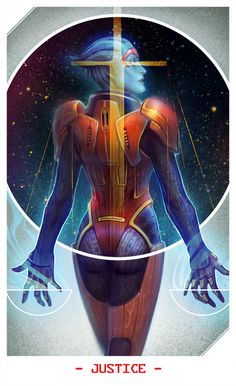 Hello and welcome, stranger. :: The Asari Justiciar Samara as Justice in Mass Effect Tarot deck ::