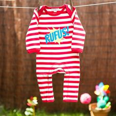 Personalised Kapow Baby Romper Red and White - 100% ethically produced cotton