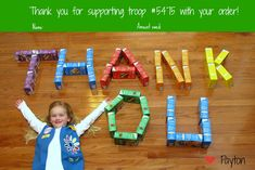Cute Thank You photo for Girl Scout cookie sales by Keeping My Cents ¢¢¢