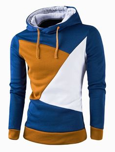 Stylish Color Block Spliced Slim Fit Casual Long Sleeve Hoodies For Men  Slim Fit, Mens 68e7dcc2a61