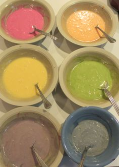 Rainbow Cake Batter with Natural Food Dyes. Well, with a Dairy Free Gluten Free Cake Recipe