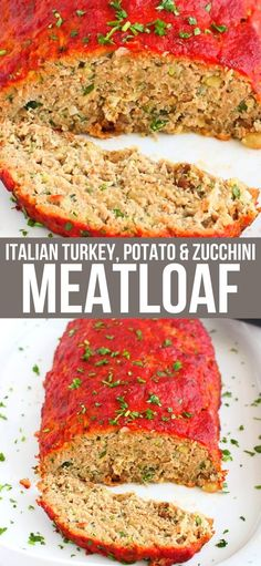 Two comfort foods – a turkey meatloaf recipe and mashed potatoes – come together with grated zucchini for a healthy twist on a classic. 152 calories and 5 Weight Watcher SP | Recipe | Ground Turkey | Easy | Recipe best #turkeymeatloaf #healtymeatloaf #meatloafrecipes #weightwatchers #smartpoints Top Recipes, Real Food Recipes, Cooking Recipes, Healthy Recipes, Zucchini Meatloaf, Turkey Meatloaf, Fast Dinners, Budget Dinners, Easy Meals