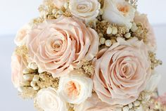 Blush rose and Ivory bridal bouquet Preserved by Floralescence