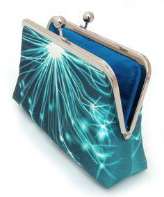 Blue sparkle clutch  Printed silk / luxury purse by redrubyrose, $75.00