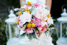 Romantic Pink Sage Yellow Bridal Bouquet