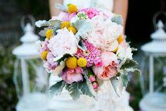 Romantic Pink Sage Yellow Bridal Bouquet