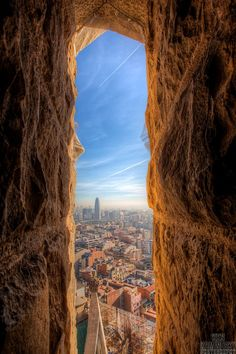 Spectacular view of Barcelona the top of one of Sagrada Familia's many spires.