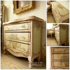 Marie-Antoinette distressed Shabby pink and white aged chest