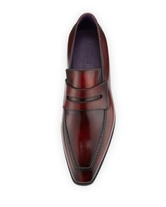 Berluti Andy Burnished Leather Loafer, Red