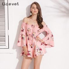 63f3a9a7c7b Gaovot 2018 Summer Spring Women Playsuits Sexy Off Shoulder Slash Neck  Floral Print Short Rompers Femme