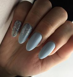 31 Chic Glitter Nail Art Designs : Blue nails #nailart #nails #manicure