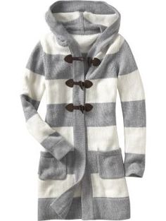 Image Detail for - Women s Clothes Women s Striped Toggle Front Sweater Coats Long Sleeve ...